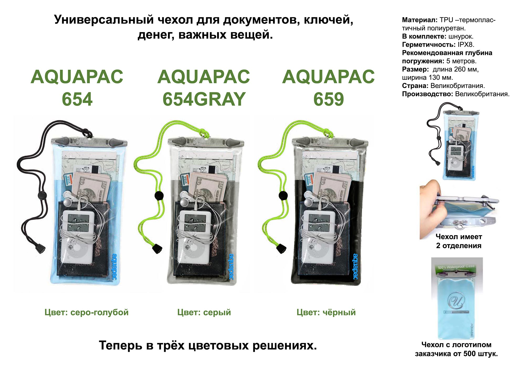 Водонепроницаемый чехол для документов - Aquapac 654. Aquapac - №1 в мире водонепроницаемых чехлов и сумок. Фото 2