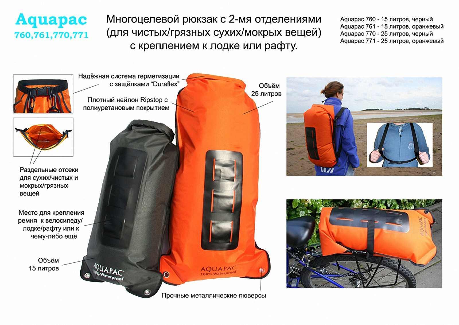Водонепроницаемый  гермомешок-рюкзак (с двумя плечевыми ремнями) Aquapac 761 - Noatak Wet & Drybag - 15L.. Aquapac - №1 в мире водонепроницаемых чехлов и сумок. Фото 1